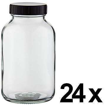 24 x weithals Botella 1000 ml, cristal transparente Incluye de rosca con junta (*