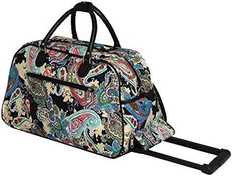 Amazon.com  1pc Color Paisley Rolling Carry Duffle Bag 35660c05d68e8