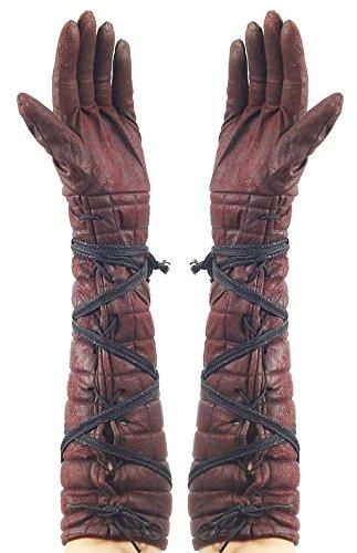 Warrior Princess Costume Accessories (Medieval Female Warrior Brown Gloves)