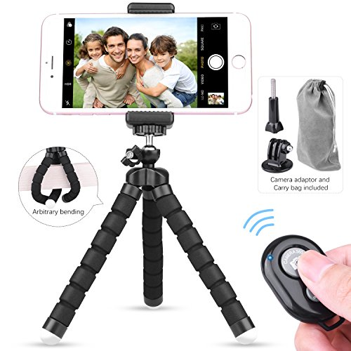Etepon Phone Tripod, Portable Flexible Mini Tripod Camera Stand Holder with Tripod Mount Bluetooth Remote Shutter, Camera Adapter Universal Clip Portable Bag for iPhone, Android, Home DVs, GoPro (30' Fun Ball)