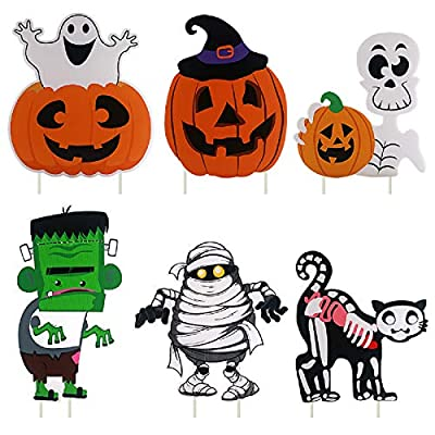 YardSigns for Halloween Props Yard Stakes Pumpkin Ghost Monster Yard Sign Scary Theme Yard Sign Stakes for Halloween Decorations Outdoor Lawn Decorations, Pack of 6 Yard Decorations for Haunted House