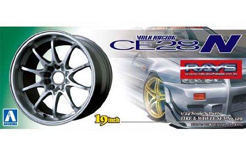 Download AOSHIMA 010020 1/24 Volk Racing CE28N Silver Tire/Wheel