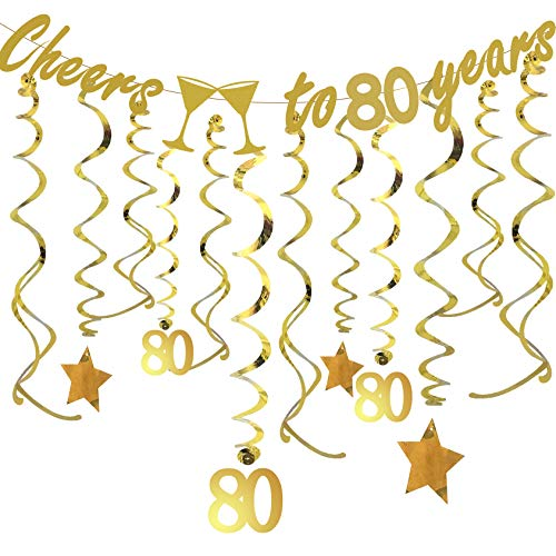 Gold 80th BIRTHDAY PARTY DECORATIONS KIT - Cheers to 80 Years Banner, Sparkling Celebration 80 Hanging Swirls, Perfect 80 Years Old Party Supplies 80th Anniversary -