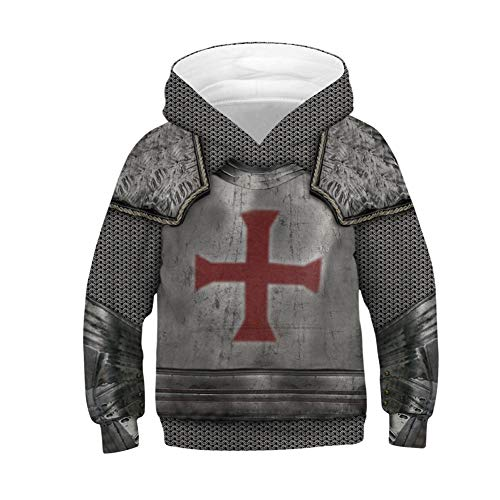 Kids Boys Armor Templar Knight Medieval Hoodie Cosplay Sweatshirt Costume (Kids 10-12, Knight Gray) ()