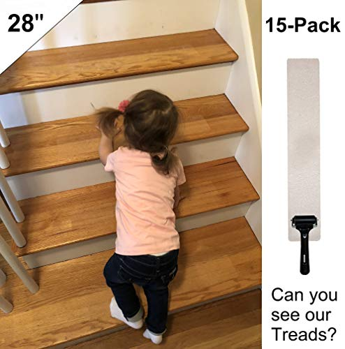 Anti Slip Stair Treads Non-Slip Clear Tape (15-PACK) Premium Home 28''x4'' Transparent,No Stair Damage! NON-Abrasive for Child Safety, Pets Elders Indoor Outdoor Waterproof, Easy Adhesive Install NO PVC by Premium Home Tape