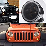 Jeep Turn Signal Lights White Halo Ring Smoked Lens Front Signal Parking Lights Amber Driving Lights for 2007-2017 Jeep Wrangler JK JKU