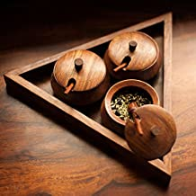 Crafts'man Wooden & Steel Dining Table Triangular Refreshment Set
