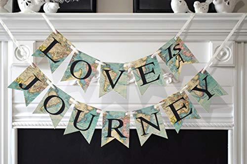 Love is a journey banner, travel wedding theme decoration, travel bridal shower decor, world -