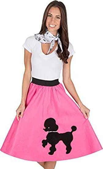 Adult Poodle Skirt With Musical Note Printed Scarf Hot Pink By Kidcostumes