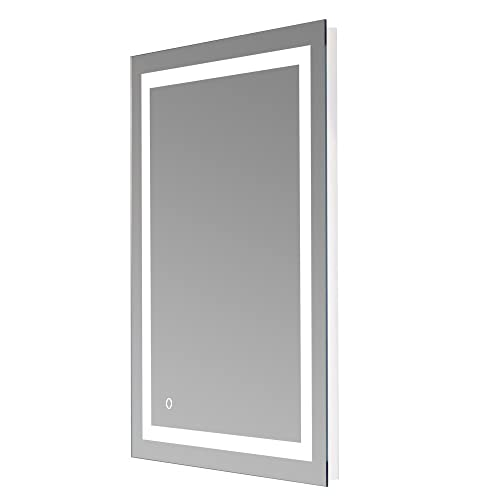 LED Lighted Vanity Bathroom Mirror LED Bathroom Mirror Modern Wall Mounted LED Mirrors Dimmable Rectangle Touch Wall Mirror with Dimmer Lights 32 x 24