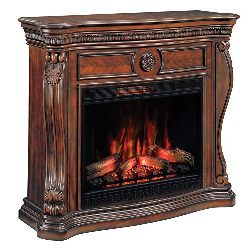 ClassicFlame Lexington Infrared Electric Fireplace Mantel, Cherry with 33II042FGL Infrared Electric Fireplace (Fireplace Flame Classic Infrared Electric)