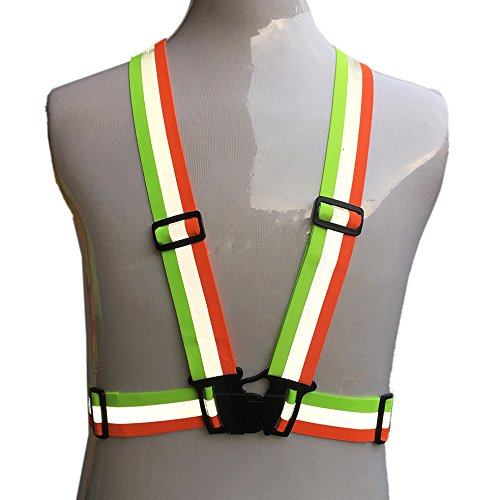 ZOJO Reflective Vest | Lightweight, Adjustable & Elastic | Safety & High Visibility for Running, Jogging, Walking, Cycling | Fits over Outdoor Clothing (Pack of 10, Mixture Neon Orange & Yellow) by zojo (Image #5)