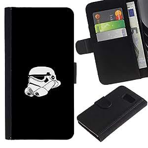 JackGot ( Stormtrooper Helmet ) Samsung Galaxy S6 la tarjeta de Crédito Slots PU Funda de cuero Monedero caso cubierta de piel