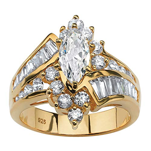 (18K Yellow Gold over Sterling Silver Marquise Shaped Cubic Zirconia Engagement Ring Size 7)