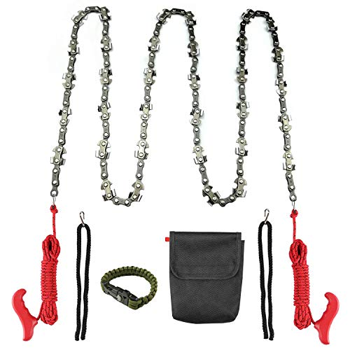 Toolshouse Hand Chain Saw(52 inch), 34 Blades on Both Sides,Survival Bracelet, and Outdoor Chainsaw with Long High Limb Rope,Two 16.5FT Ropes for Cutting High Branch