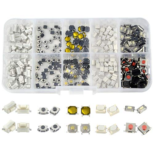 WGCD 300 PCS Tactile Push Button Switch Micro Momentary Tact Assortment Kit for Car Remote Control