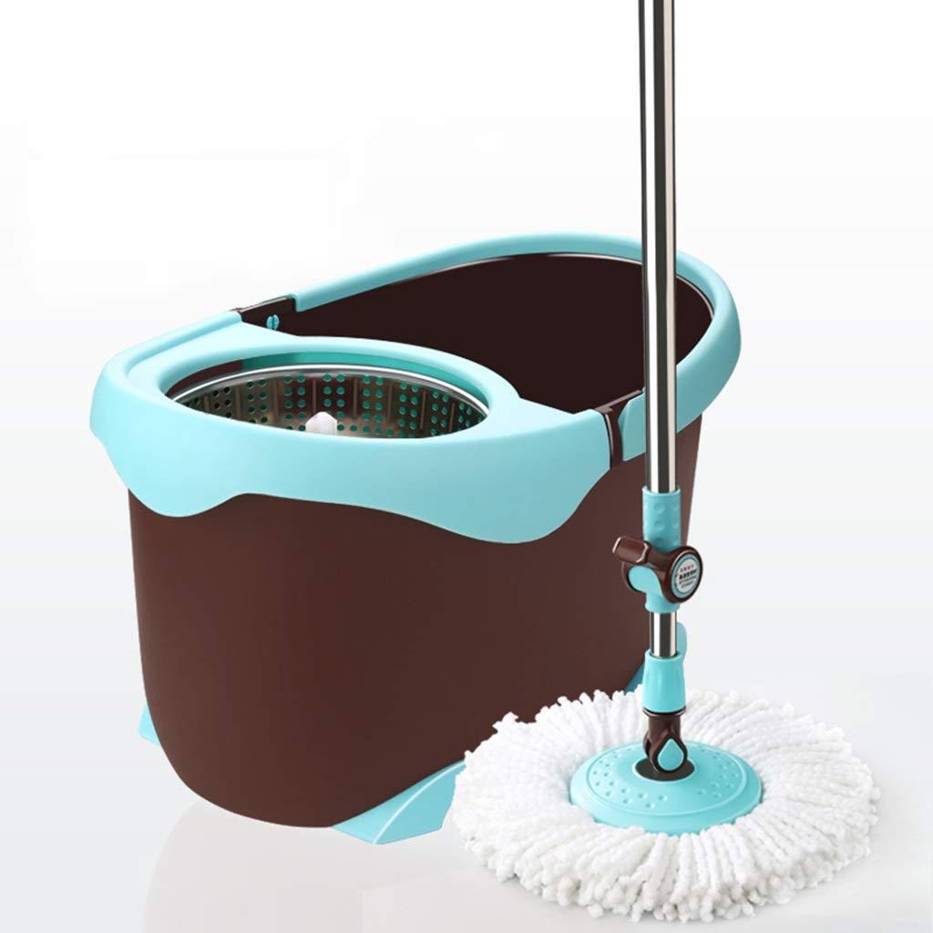 サイクロン湿式回転モップとローリングバケツ、床洗浄、シンプルな絞りシステム、マイクロファイバー布のほうきとキャスターのクリーニング (色 : A-Extension rod+stainless steel) B07KTMSY29 A-Extension rod+stainless steel