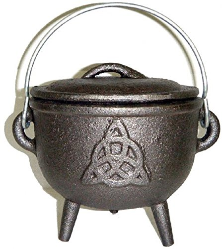 Triquetra Cast - Cast Iron Cauldron with Lid, Triquetra / Charmed Symbol 4 1/2 Inch