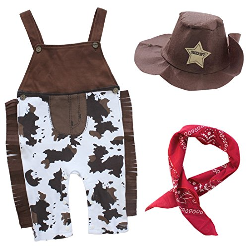 (TiaoBug 3Pcs Infant Baby Boy Cowboy Costume Romper Overall Pats+Hat+Bib Clothes Set Suspender Outfit Brown 18-24)