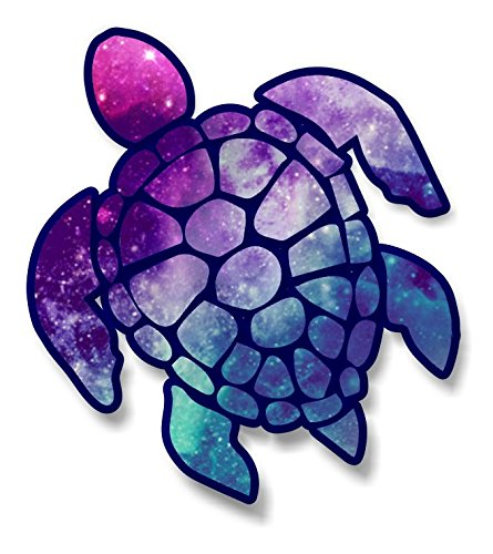Window Decals Turtle (vinyl junkie graphics 3 inch Sea Turtle Sticker for Laptops CupsTumblers Cars and Trucks any smooth surface (starry sky))