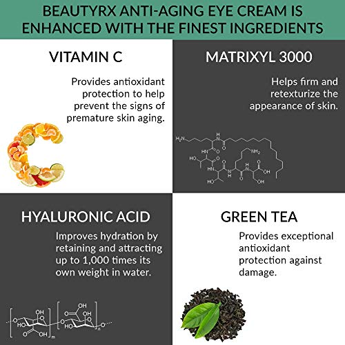 51MyplMK9iL - BeautyRx by Dr. Schultz Eye Cream for Dark Circles, Bags, Wrinkles & Puffiness, Hyaluronic Acid & Green Tea, 1 oz
