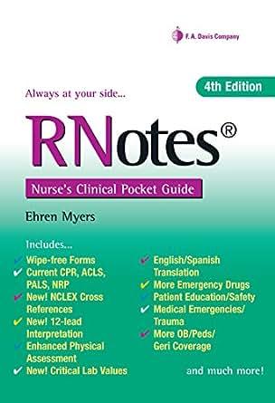 Rnotes nurses clinical pocket guide kindle edition by ehren rnotes nurses clinical pocket guide 4th edition kindle edition fandeluxe Image collections