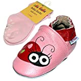 Cute Ladybug Soft Sole Real Leather Baby Girl Shoes with Socks (6-12...