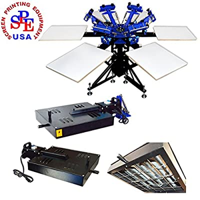 6 Color 6 Station Screen Printing Machine Double Wheel Rotating Screen Printing Press with 110V 1600W Universal Added Flash Dryer Screen Printing Equipment