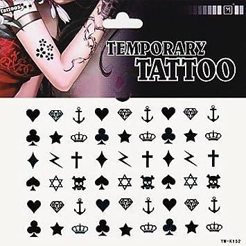 Tatuaje pegatinas de 1pc Corazón – Pala Club Diamante Cruz tatuaje ...