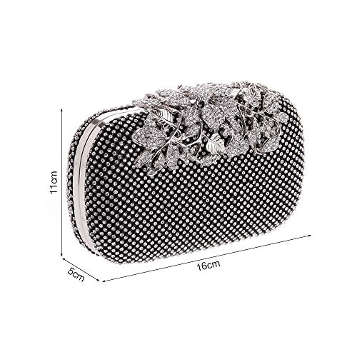 Silver Purses Crystal Cocktail Rhinestones Evening Leeq With Bags Flower Clutch wC4TaT
