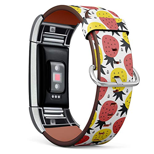 Compatible with Fitbit Charge 2 - Leather Watch Wrist Band Strap Bracelet with Stainless Steel Clasp and Adapters (Print Wirh -