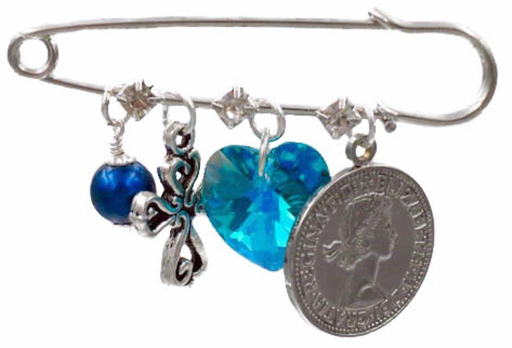 Blue Simulated Pearl, Fancy Cross, Aqua Crystal Heart, and Six Pence Bridal Pin