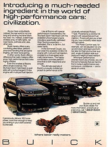 Magazine Print Ad: 1987 Buick Skyhawk Sport Hatchback T-Package, Riviera T-Type, Somerset T-Package,