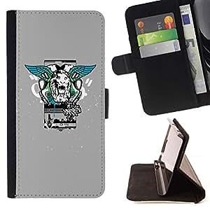 For HTC One A9 Case , Estilo León Alas calle- la tarjeta de Crédito Slots PU Funda de cuero Monedero caso cubierta de piel