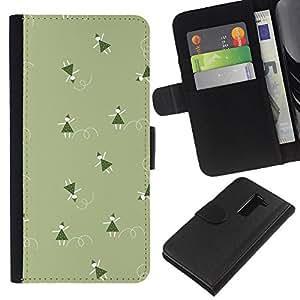 KLONGSHOP // Tirón de la caja Cartera de cuero con ranuras para tarjetas - Verde de la Navidad vacaciones de invierno - LG G2 D800 //