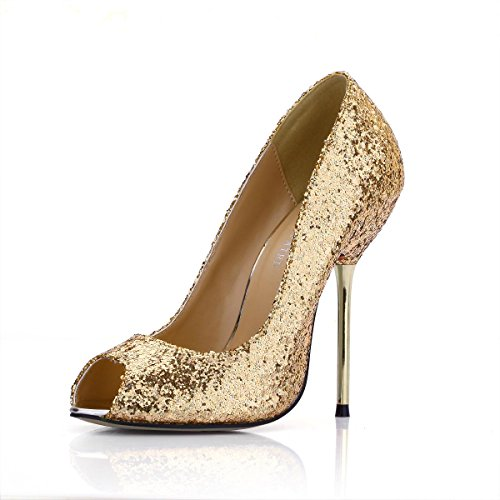 12 High 4U Stiletto Golden Peep Sequin Heels Shoes Summer Spring 4CM Best Metal Shoes Women's Toe 0w0TX