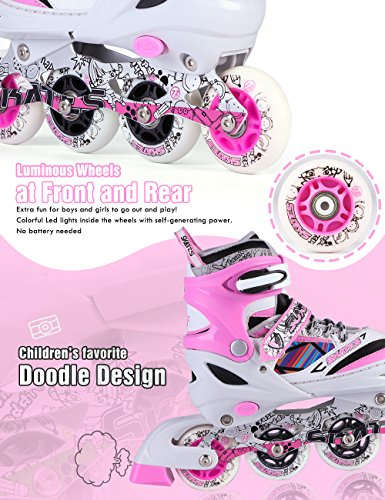 Kuxuan Kids Doodle Design Adjustable Inline Skates with Front and Rear Led Light up Wheels, Comic Style Rollerblades for Boys and Girls - Pink S by Kuxuan (Image #2)
