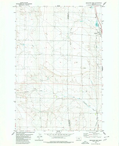 YellowMaps Broadview West MT topo map, 1:24000 scale, 7.5 X 7.5 Minute, Historical, 1980, updated 1980, 26.9 x 22 IN - Tyvek Broadview Broadview 1 Light