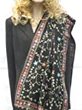 SCARF CASHMERE PASHMINA WRAP WITH ALL OVER CREWEL EMBROIDERY