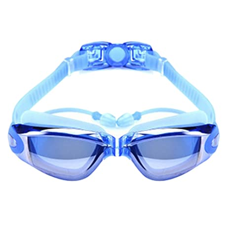 Forberesten Nearsighted Swimming Goggles UV400 Anti-Fog Waterproof Leakless  Goggles with Siamesed Earbuds, Nose Clip for Shortsighted Men, Women,