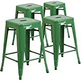 24  High Barstools Backless Green Metal barstool Indoor-oudoor Counter Height Stool with Square Seat Set of 4  sc 1 st  Amazon.com & Amazon.com: Green - Barstools / Home Bar Furniture: Home u0026 Kitchen islam-shia.org
