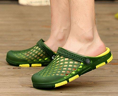 YiLianDa Hombre Jardín Playa Yarda Piscina Mula EVA Zapatos Zuecos Verde