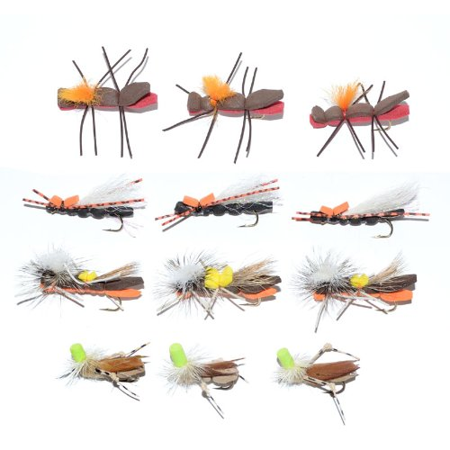 Trout Fly Assortment - Chernobyl Ant and Foam Body Grasshopper Dry Fly Collection 1 Dozen Flies