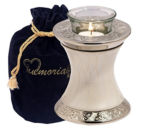 Light Urn - MEMORIALS 4U Memorials4u Baroque Pearl Tealight Urn with Trinity Band - Keepsake Urn for Ashes - Small Size - NOT Intended for Full Cremation Ash Quantity