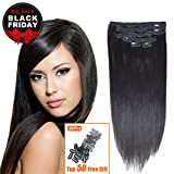 "14"" Remy Human Hair Clip in Extensions for Women Off Black(#1B) 6Pieces 70grams/2.45oz"
