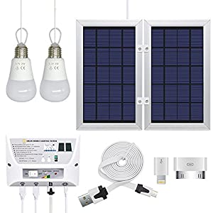 Portable Solar Power Mobile Lighting System, Home Emergency Lights/ Phone Charger with USB Port/ Power Bank for Indoor & Outdoor Activities (RV Camping, Patio) (Controller Box, 2 x 3.7V/2W LED Bulbs)
