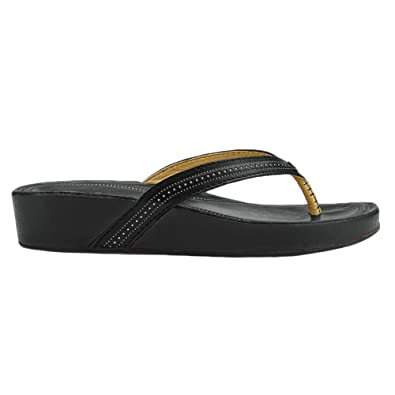 9f22c4a2e5b236 OLUKAI Ola - Womens Wedge Leather Sandal Black Black - 5