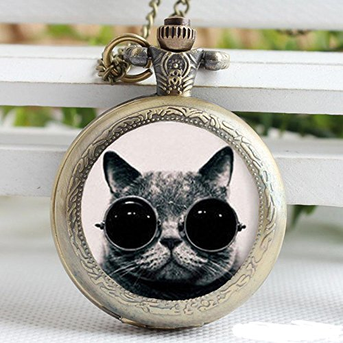 Vintage Handsome Cat With Sunglasses Funny Cat Picture Handmade Pocket Watch Necklace Animal Jewelry-Bronze Quartz Watches Chain - Sunglasses Pictures Cartoon