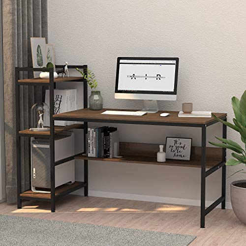 Computer Desk with 4 Tier Storage Shelves - 41.7
