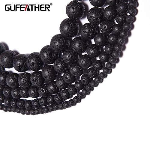 (Calvas Z58,4 6 8 10 12mm,Jewelry Accessories,Black Volcanic Stone,Round Loose Beads,DIY Necklace Bracelet,Jewelry Making - (Item Diameter: 12mm About 32pcs) )